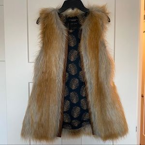 Sanctuary Brown Faux Fur vest with Leather Trim